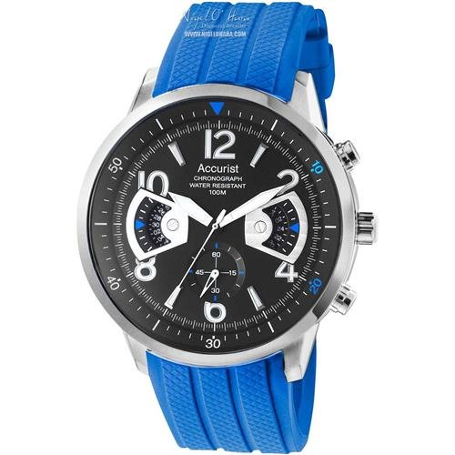 Accurist Mens Acctiv Sports Chronograph Blue Silicone Strap Watch (MS920BN)