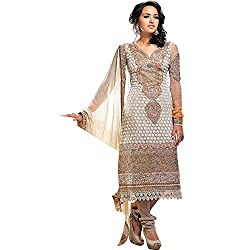 Fabtantra Women Georgette Dress Material (10068 _Brown)