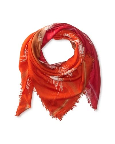 LEIGH & LUCA Women's Ombre Peacock Square Scarf, Red/Pink