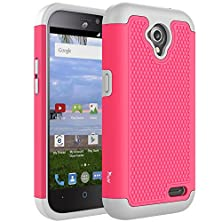 buy Zte Stratos Lte Case, Zte Allstar Lte Case, Tauri [Drop Protection] Protective Case [Shock Proof] Dual Lawyer Hybrid Defender Armor Case Cover For Zte Stratos Lte / Zte Allstar Lte - Hot Pink