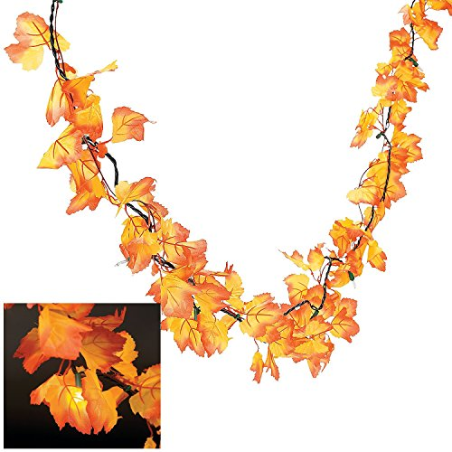 Autumn Leaves Lighted Garland - Wreaths and Floral Decorations