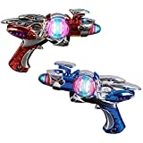 Super Spinning Laser Space Gun With LED Light & Sound ( Colors may vary )