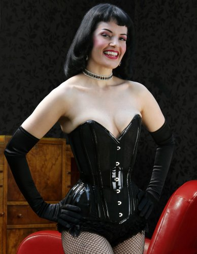 What Katie Did Lalique Laurie Black PVC Overbust Corset L4082