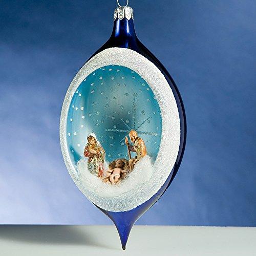 De Carlini Blue Glass Drop Nativity Creche Italian Glass Christmas Ornament