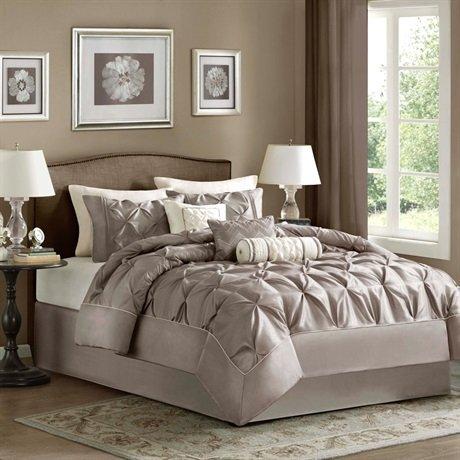 Laurel 7 Piece Comforter Set Color: Taupe, Size: King