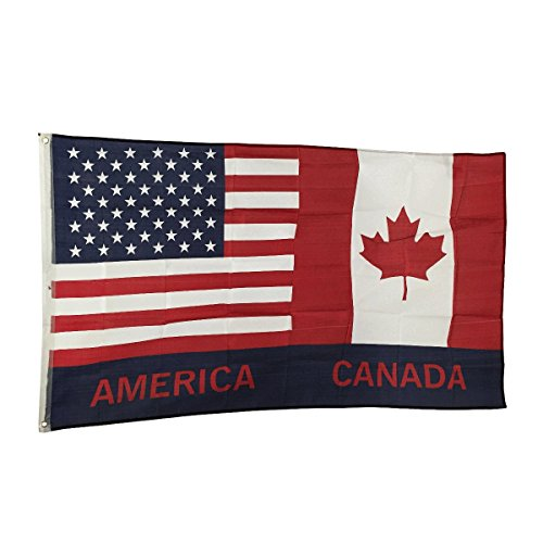 3' x 5' Polyester Flag with Brass Grommets (USA Canada) (Canada Usa Flag compare prices)