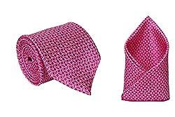 Eccellente Men's Designer Neck Tie & Pocket Square_Pink