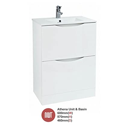 """Athena"" White Floor Standing Unit & Basin (Central Handle) - 600mm(w) x 870mm(h) x 460mm (d)"