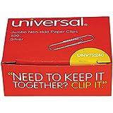 Universal Nonskid Paper Clips Wire, Jumbo Silver, 100 per Box (72240)