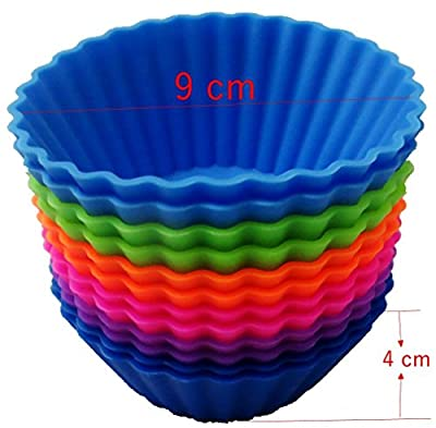 The Trusty Baker 12 Pk JUMBO Silicone Reusable Baking Cups - Cupcake Liners- Muffin Liners- NON-BPA- FREE SHIPPING