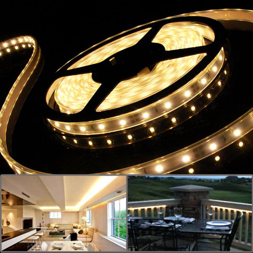LED Strip Rope Tube Light 16.4FT 300 SMD Flexible Warm White For Outdoor Patio Stairway