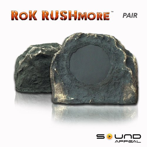 "Outdoor Rock Speakers Grey Slate 6.5"" (Pair) - Rok Rushmore By Sound Appeal"