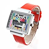 Jialilfi Faux Leather Band Luxury Square Tv Test Analog Quartz Watch Red