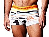 Art Pastelito White Trunk come in a shorter than normal fit compared to boxers. With an orange elastic waistband and a red Frank Dandy logo text. The print on the underpants have a handful of stripes in black, yellow blue and red with a colle...