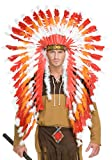 Red, White & Orange American Indian Headdress with Trailer