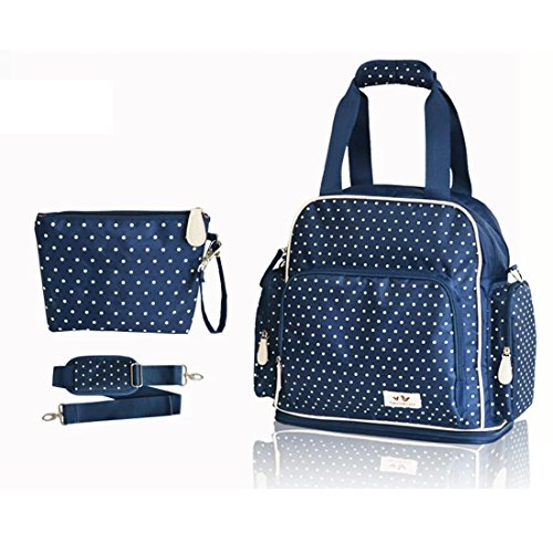 Damai Large Dots Backpack Diaper Bag 3 Carrying Options (Blue) front-1055578