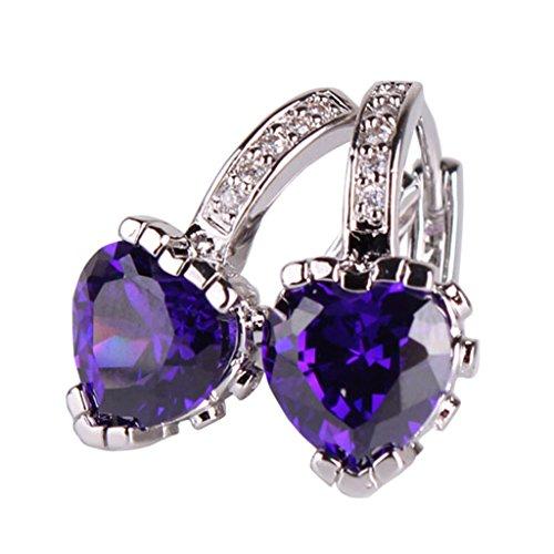 GULICX 18K White Gold Plated Lovely Cubic Zirconia Hoop Pierced Huggie Earrings Amethyst Color Purple