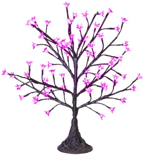 Arclite Nbl-050-8 Cherry Blossom Tree, 2.5' Height, With Black Trunk, Pink Crystals And Pink Lights