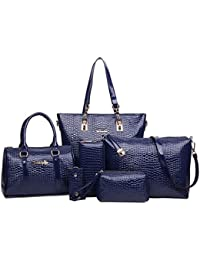 Mei&ge Crocodile Skin Pattern Glossy Finish PU/Synthetic Leather Handbags For Women - Set Of 6 - Blue Colour