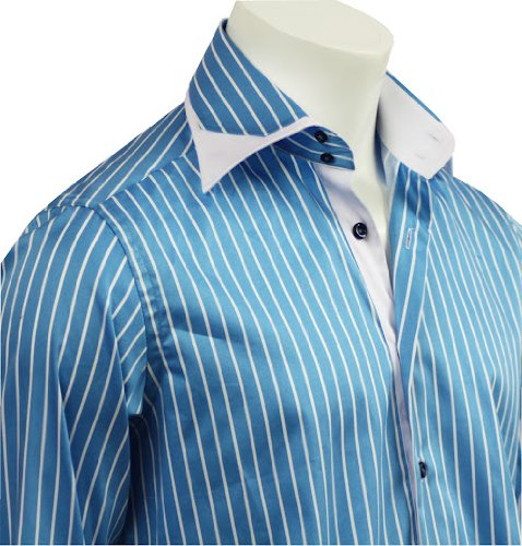 Italian Design Men Formal Office & Casual Shirts Turquise Strips Slim Fit S-4XL