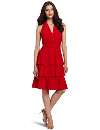 Evan Picone Women's Tiered Halter Matte Jersey Dress, Summer Red, 6