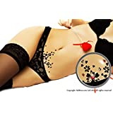 Black Love Hearts Vajazzle with Sparkling Red Swarovski Crystals - Temporary Body Art Tattoo. Water Resistant. For Parties, Clubbing, Festivals, Holidays, Weddings, or As a Unique Present
