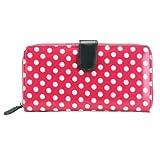 Miss Lulu Designer Oilcloth Rose Spot Polka Dots Folded Zip Wallet Purse Bag