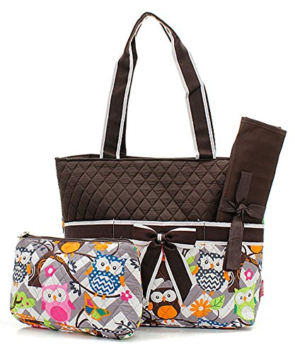 Quilted Owl Chevron Print Monogrammable 3 Piece Diaper Bag With Changing Pad Tote Bag