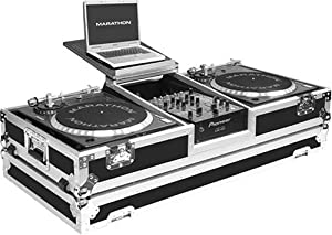 Marathon Flight Road Case MA-DJ10Wlt Battle Coffin Holds 2 Turntables with 10-Inch Mixer with Low Profile Wheels & Shelf for 15-Inch Laptop
