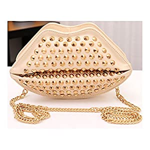 BestFyou® 2014 Hot Sale Sexy Lips Design Rivet shoulder bag /Messenger bag/slanting cross body bag with chain