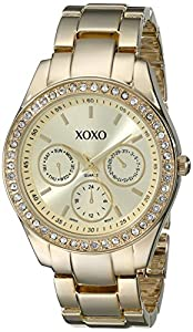 XOXO Women's XO5563 Rhinestones Accent Gold-Tone Bracelet Watch