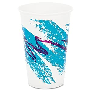 SOLO Cup Company Products - SOLO Cup Company - Jazz Waxed Paper Cold Cups, 16 oz, Tide Design, 1000/Carton - Sold As 1 Carton - Great for cold beverages. - Wax coating keeps beverages inside cup and protects outside against sweating. - Disposable cups are ideal for foodservices.