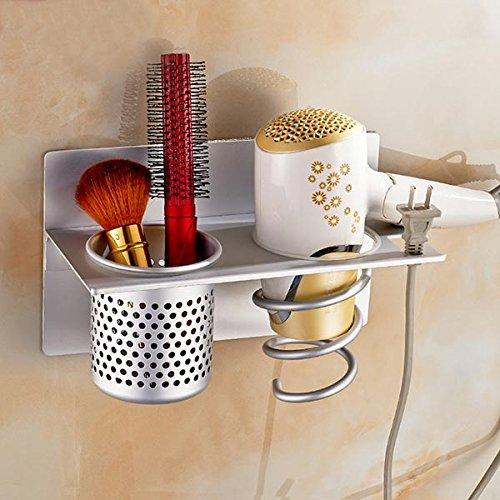 Wall Mounted Aluminum Hair Dryer Holder Rack Bathroom Sundries Stand Set Storage Organizer (Hairdresser Broom compare prices)