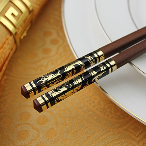 Natural lacquer-free wax-free, log home skid, creative cutlery set, 10 pairs of gold silk red rosewood chopsticks , round of gold red gold dragon