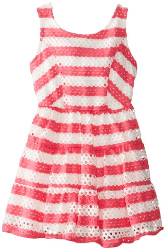 Sweet Heart Rose Little Girls' Stripe Tiered Dress, Coral/White, 3