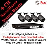 Q-SEE QT704-480 4 Channel DVR1080p Resolution and 4 Weatherproof 40FT Night Vision Camera