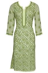 ADA Lucknowi Chikankari Handmade Women's Ethnic Wear Designer Georgette Kurti A113580