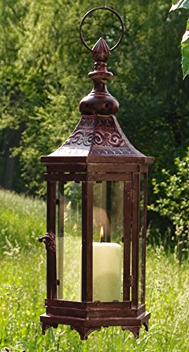 Candle Lantern – Large Bronze Metal Moroccan Hanging Candle Lantern, Clear Glass Product SKU: CL221856