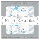 Swaddle Designs -. Manta muselina del beb�, 4 pcs, azul (azul en colores pastel)