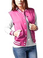 Urban Classics Chaqueta Ladies 2-tone College Sweatjacket (Fucsia / Blanco)
