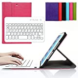 Bestmall Ultra-Slim Removable Wireless Bluetooth Keyboard PU Folding Leather Folio Keyboard Case Cover For Apple ipad mini, ipad mini 2, ipad mini 3 Built in Stand Function-Rose Red