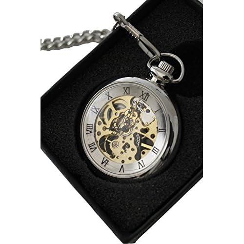 [ オアシス ] OASIS 手巻き 式 懐中時計 スケルトン (シルバー)