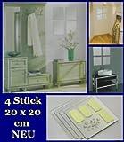 4er Set Spiegelfliese 20 x 20 cm Klebespiegel Spiegelkachel Spiegel Fliese mit Befestigung Spiegelfliesen