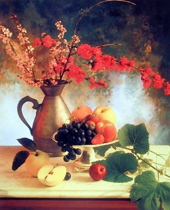 Flowers In Vase & Fruit (Grapes & Apple) Still Life Art Print Poster (16x20)