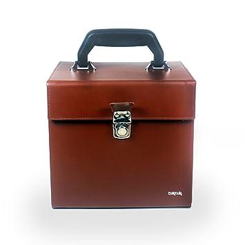 tuk tuk bo te de de rangement en cuir pour disques disques vinyle 45 tours marron 18 cm. Black Bedroom Furniture Sets. Home Design Ideas