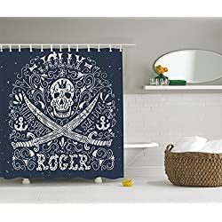 Skull Shower Curtain Nautical Home Decor by Ambesonne, Pirates Jolly Roger Flag Sailor Symbols Crossed Swords Theme, P