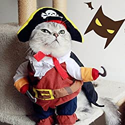 "Idefair Pet Cat Costume Cool Caribbean Pirate Pet Costume for Small to Medium Dogs / Cats (M (Length 12.6"", Neck 11.81""))"