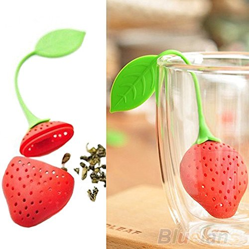 Vanace Silicone Strawberry Design Loose Tea Leaf Strainer Filter Tools,Set Of 3