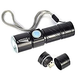 JED LED Torch light Powered by Super Bright CREE LED Q5 (2000 LM) of USA with Adjustable ZOOM and USB Rechargable - BLACK