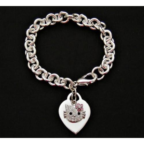 Hello Kitty Crystal Charm & Silver Heart Bracelet